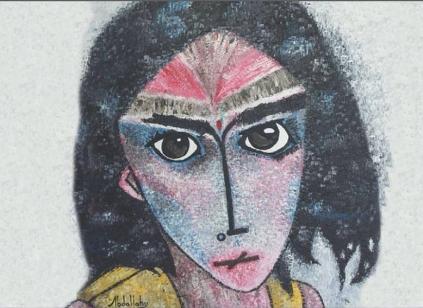 """Una de las obras de """"Saharauis los ojos como reflejo del alma"""", del pintor, escultor, músico y defensor de Derechos Humanos, Abdallahy Antonio Velázquez."""