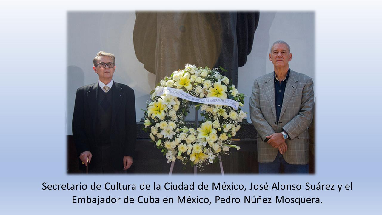 Secretario de Cultura de la Ciudad de México, José Alonso Suárez y el Embajador de Cuba en México, Pedro Núñez Mosquera.